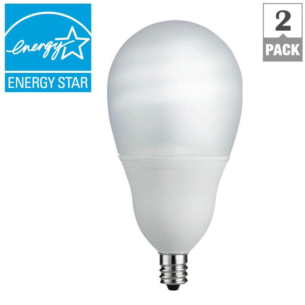 Philips 60W Equivalent Soft White A19 Silicone Ceiling Fan Candelabra Base CFL Light Bulb (2-Pack)