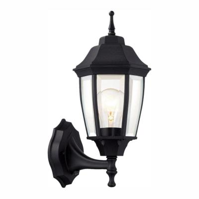 1-Light Black Dusk-to-Dawn Outdoor Wall Lantern Sconce