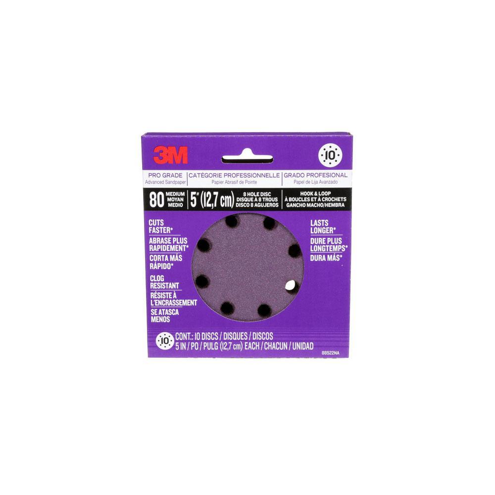 Pro Grade Sanding Discs 5 in. x 8 Hole 80 Grit (10-Pack)