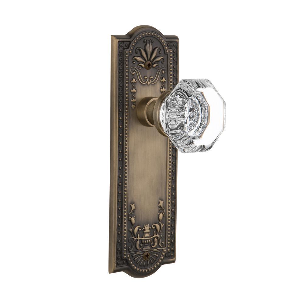 Meadows Plate 2-3/8 in. Backset Antique Brass Passage Waldorf Door Knob