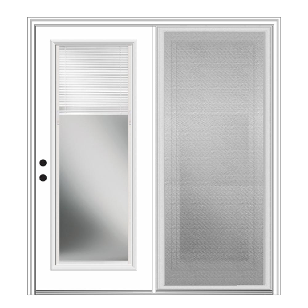MMI Door 72 in. x 80 in. Primed Fiberglass Prehung Right Hand Internal Blinds Clear Glass Full Lite Hinged Patio Door with Screen