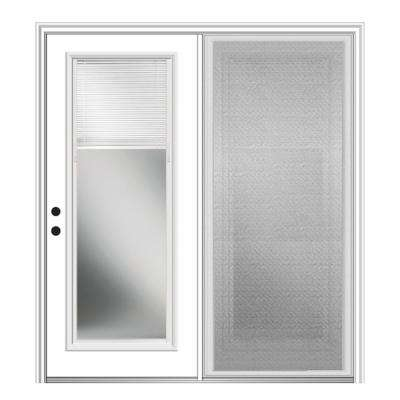 60 in. x 80 in. Primed Fiberglass Prehung Right Hand Internal Blinds Clear Glass Full Lite Hinged Patio Door with Screen