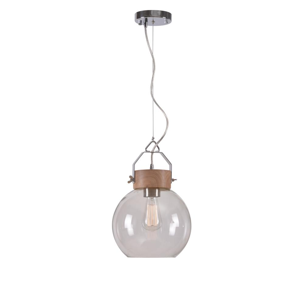 Manor Brook Lazar 1 Light Natural Wood Pendant with Glass Shade