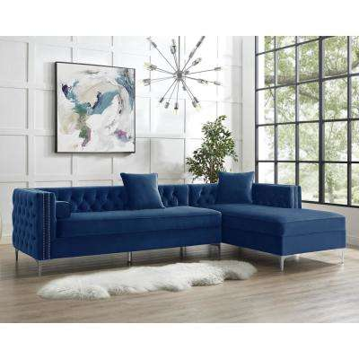 Olivia Navy/Silver Velvet 4-Seater L-Shaped Right-Facing Sectional Sofa with Nailheads