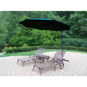 4-Piece Aluminum Outdoor Chaise Lounge Set with Green Umbrella by