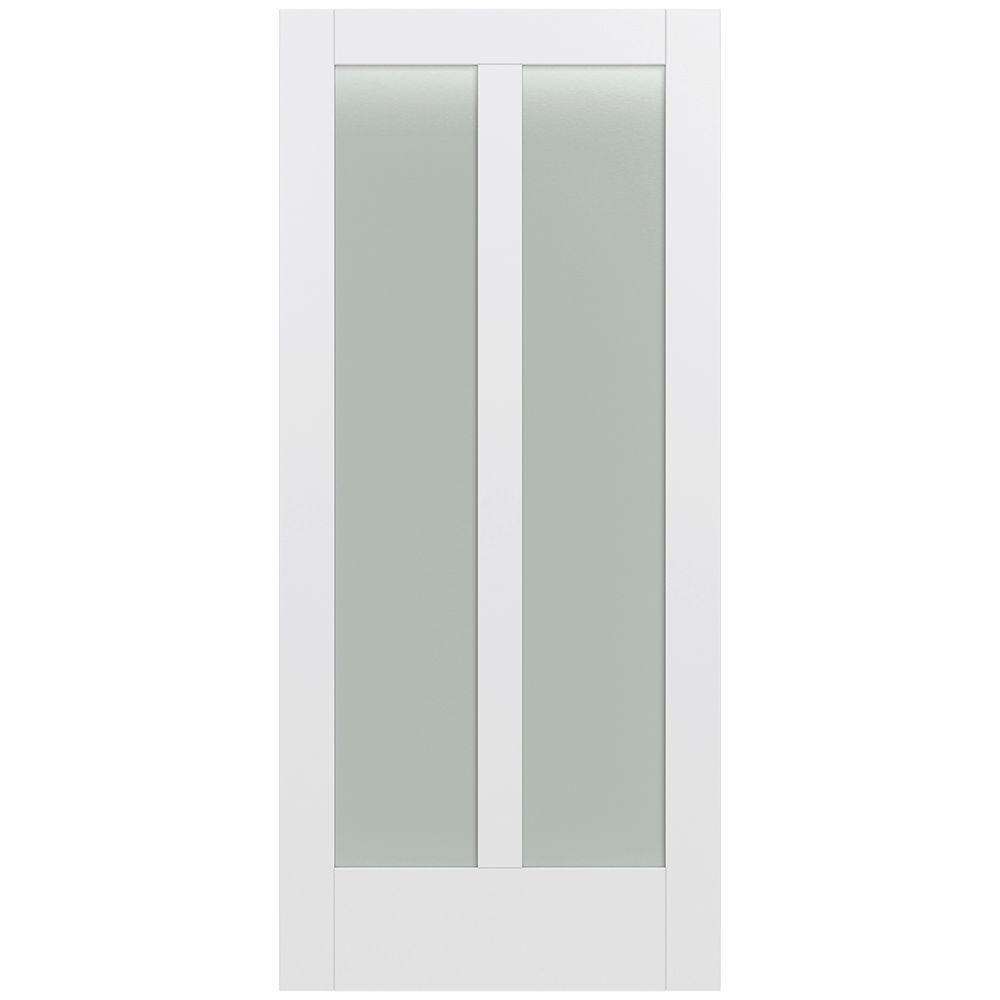 Jeld-Wen 36 in. x 80 in. Moda Primed PMT1024 Solid Core Wood Interior Door Slab w/Translucent Glass