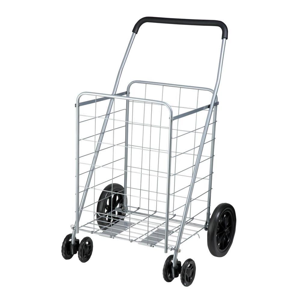 Steel Rolling Dual Wheel Utility Cart in Gray