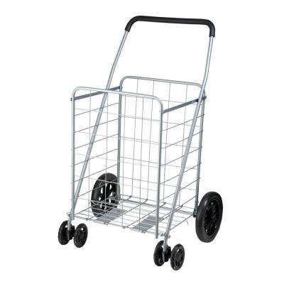 Steel Rolling Dual Wheel Utility Cart in Gray