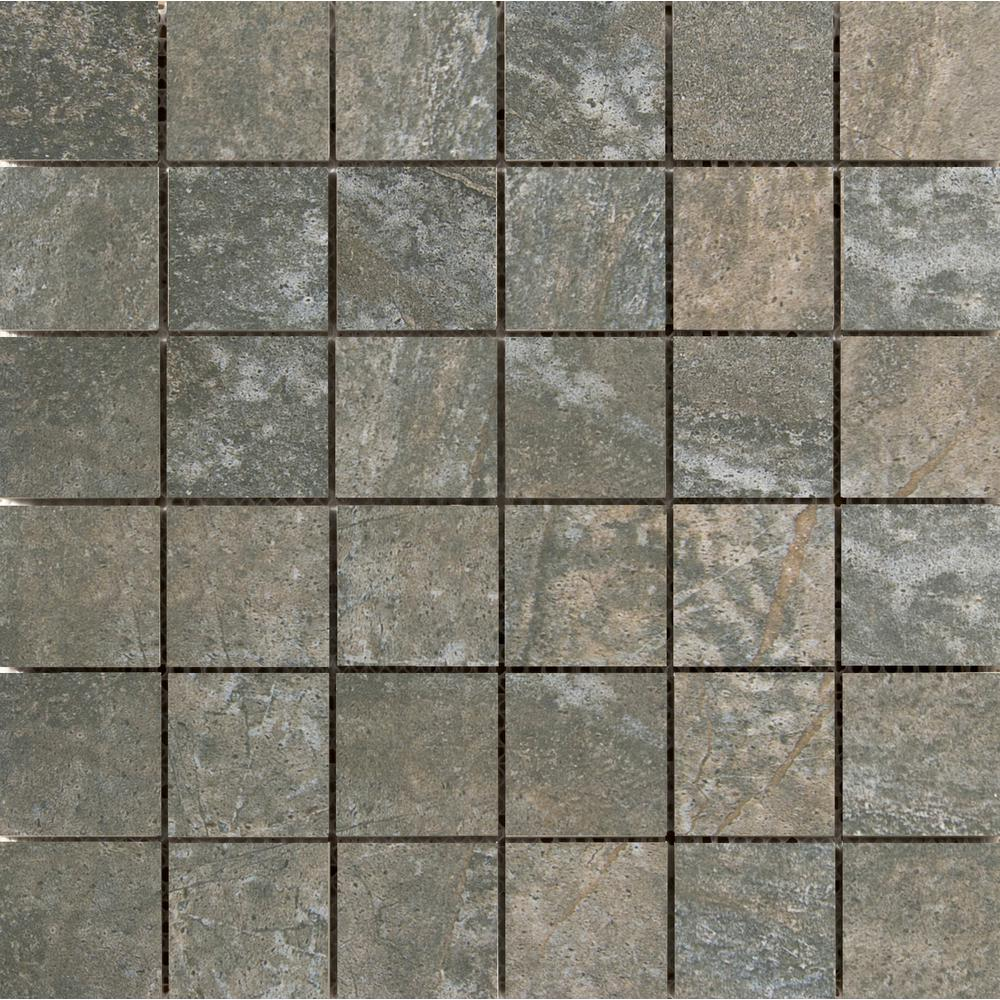 Emser Trovata Scroll 12.99 in. x 12.99 in. x 9mm Porcelain Mesh-Mounted Mosaic Tile