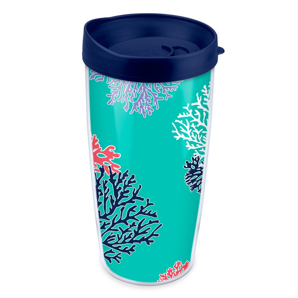 Coral Pattern 16 oz. Teal Tumbler
