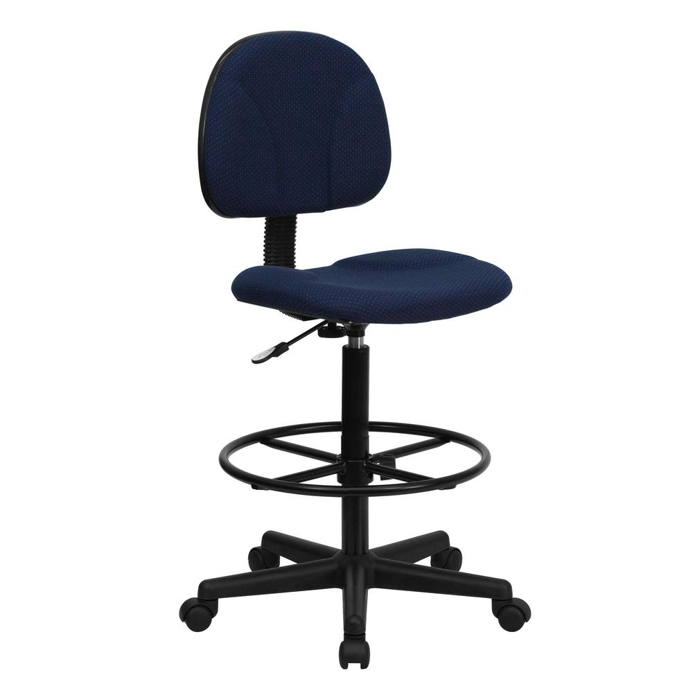 FLASH Navy Blue Patterned Fabric Ergonomic Drafting Chair.
