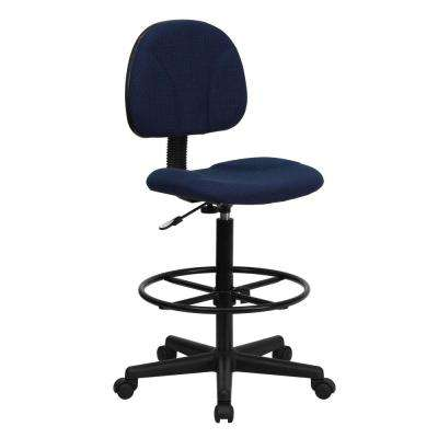 Navy Blue Patterned Fabric Ergonomic Drafting Chair (Adjustable Range 22.5 in. - 27 in. H or 26 in. - 30.5 in. H)