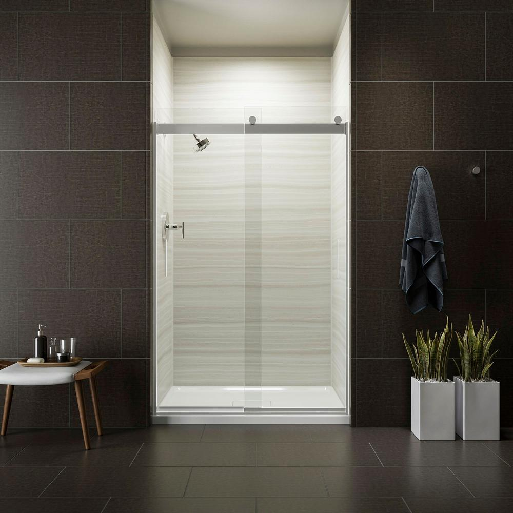 Kohler Levity 48 In X 74 In Semi Frameless Sliding Shower Door In