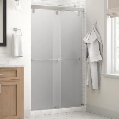 Everly 48 in. x 71-1/2 in. Mod Semi-Frameless Sliding Shower Door in Chrome and 1/4 in. (6mm) Niebla Glass