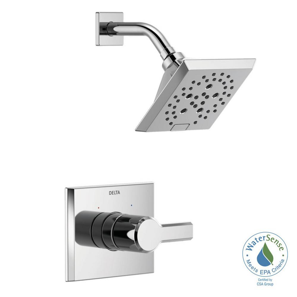 Pivotal 1-Handle Wall-Mount Shower Trim Kit with H2Okinetic Technology in Chrome