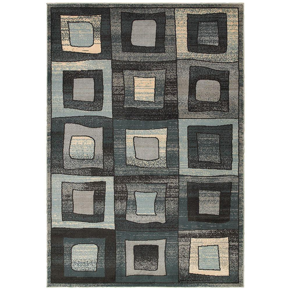 LR Resources Adana Blue 5 ft. 1 in. x 7 ft. 5 in. Plush Indoor Area Rug