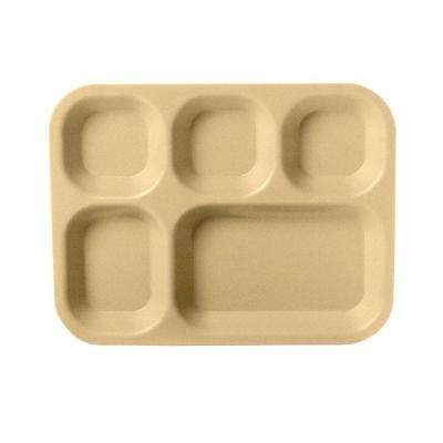 5 Compartment 13.75 in. x 10.63 in. Polycarbonate Cafeteria Tray in Tan (Case of 24)