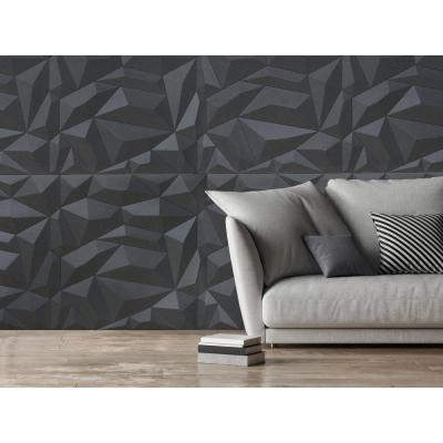 24'' x 24'' Glacier PVC Seamless 3D Wall Panels in Smoked Gray 9-Pieces