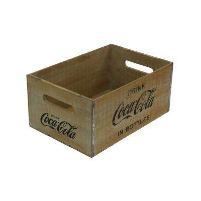 18.25 in. x 12.375 in. x 8.5 in. Coca-Cola Large Crate in Rustic Natural