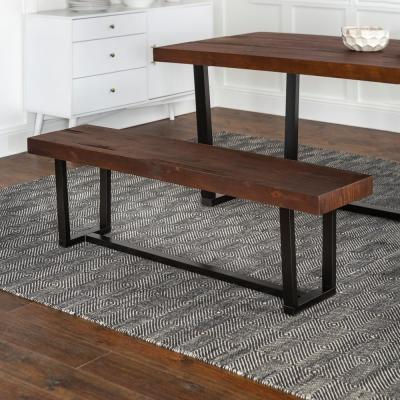 60 in. Mahogany Industrial Farmhouse Rustic Transitional Distressed Solid Wood Entryway Dining Bench