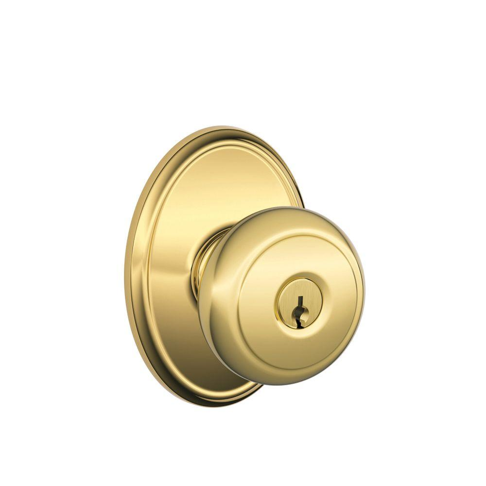 Andover Bright Brass Entry Door Knob with Wakefield Trim