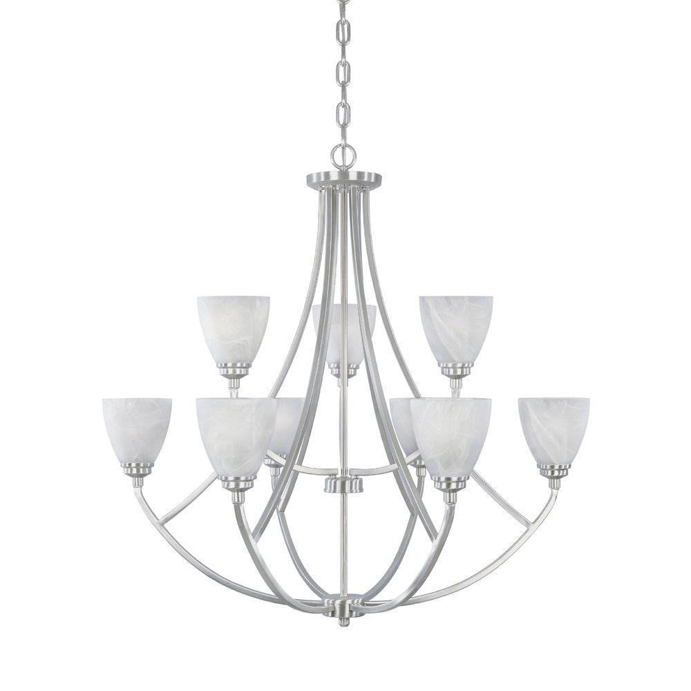Designers Fountain Manhattan 9-Light Satin Platinum Hanging Chandelier