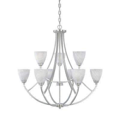 Manhattan 9-Light Satin Platinum Hanging Chandelier