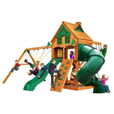 Mountaineer Treehouse Cedar Swing Set with Fort Add-On and Natural Cedar Posts