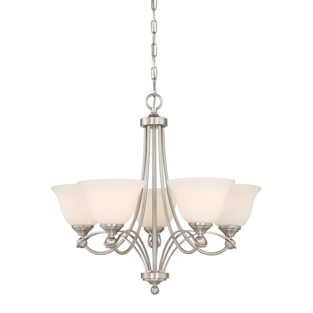 Home Decorators Collection 5 Light Antique Nickel Chandelier 17405 The Home Depot