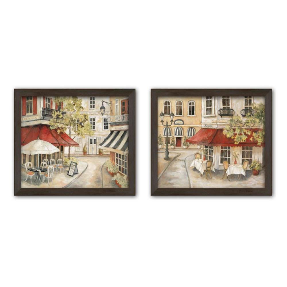 "PTM Images 6.5 in. x 8.5 in. ""Daytime Cafe"" Matted Framed Wall Art (Set of 2)"