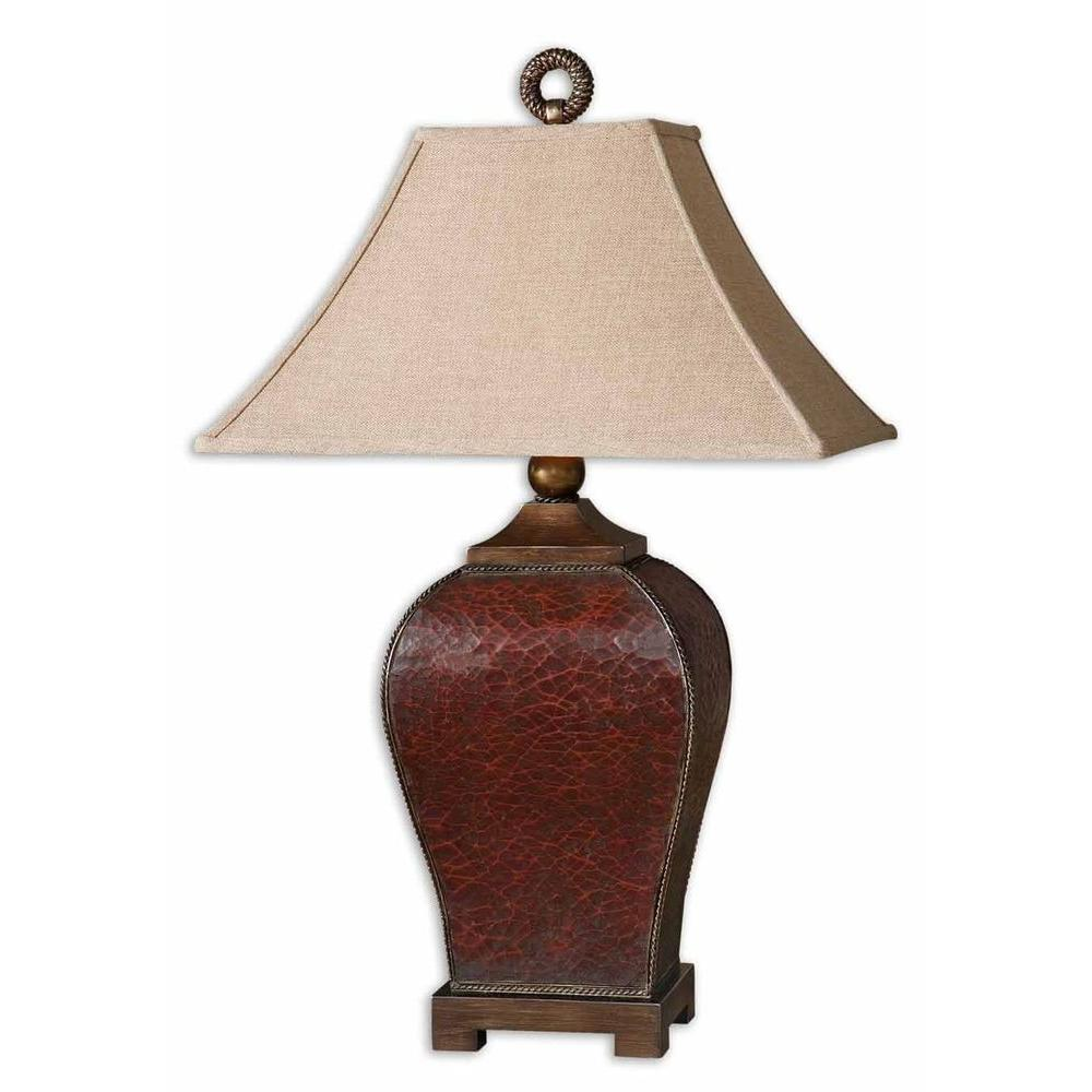 Red Chandelier Table Lamp: Global Direct 33 In. Crackled Red Table Lamp-27662