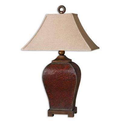 33 in. Crackled Red Table Lamp