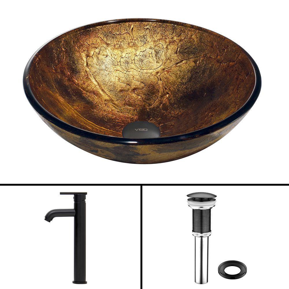 VIGO Glass Vessel Sink in Copper Shapes and Seville Faucet Set in Matte Black