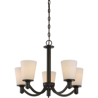 5-Light Forest Bronze Chandelier with White Glass Shade