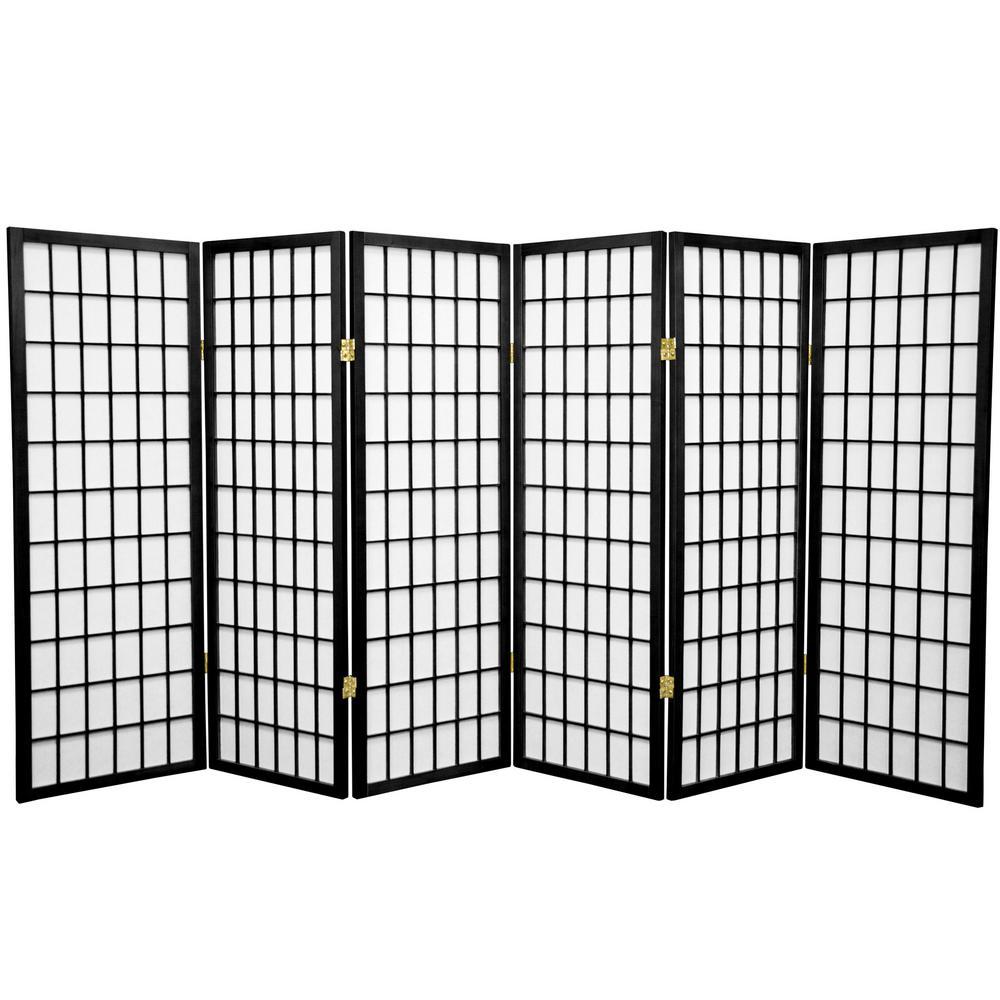 4 ft. Black 6-Panel Room Divider