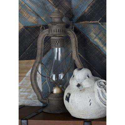 25 in. Gray Glass Bulb Candle Lanterns (Set of 2)