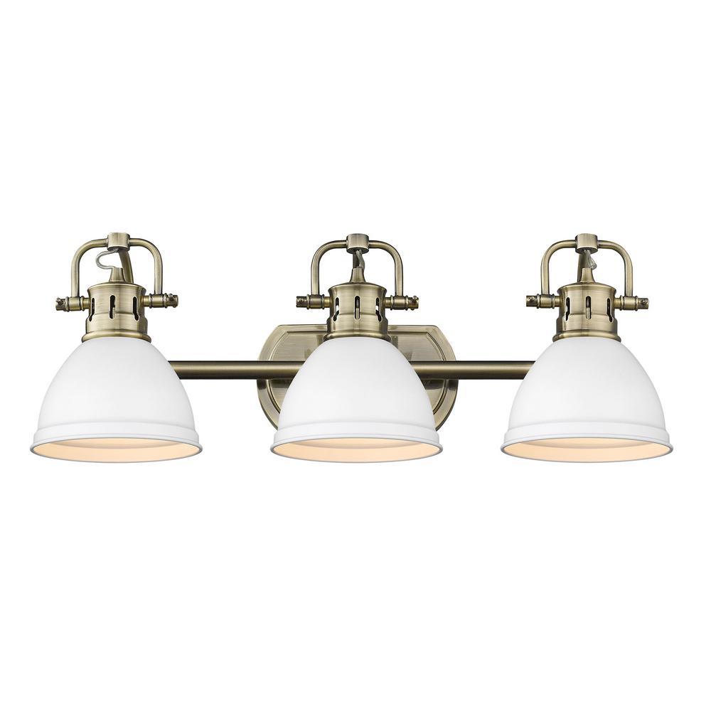 Duncan AB 8.125 in. 3-Light Aged Brass Vanity Light