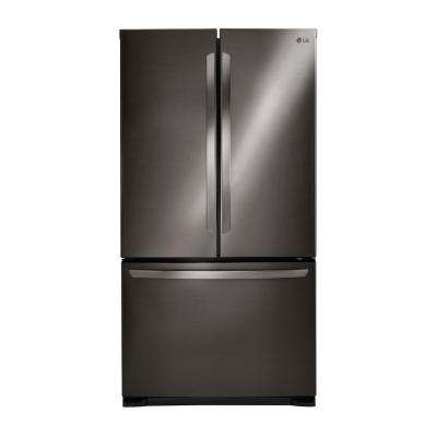 25.4 cu. ft. 3-Door French Door Refrigerator in Black Stainless Steel
