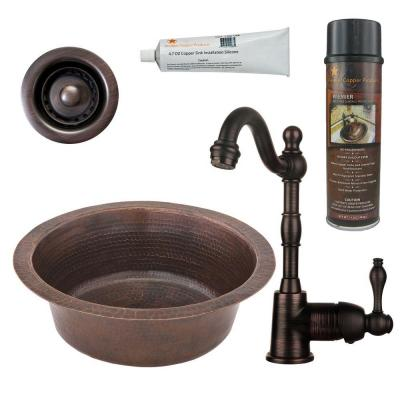 All-in-One Dual Mount Copper 14 in. Round Bar Sink with Faucet and 2 in. Strainer Drain in Oil Rubbed Bronze
