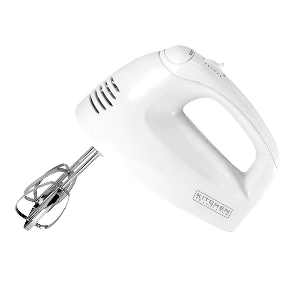 5-Speed White Hand Mixer