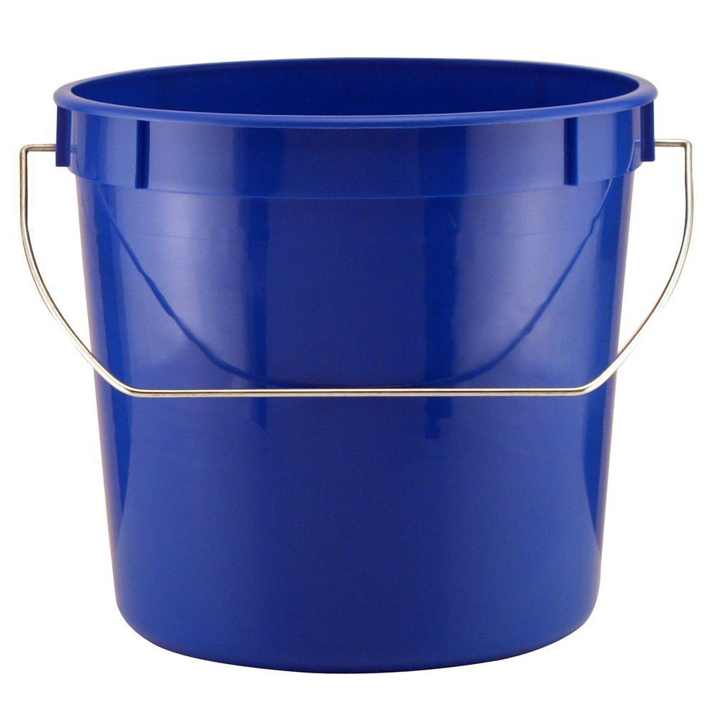 Plastic Pail With Metal Handle In Blue