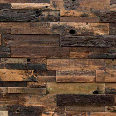 Reclaimed Wood 1/2 in. x 24 in. x 12 in. Dark Balau Boat Wood Wall Panel (10-Box)