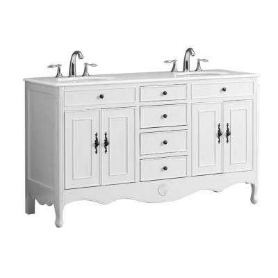 Provence 60 in. W x 21 in. D Double Bath Vanity in Antique White with Marble Vanity Top in White with White Basin