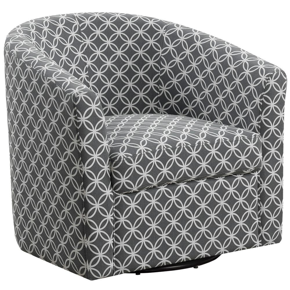 Greay Circular Fabric Accent Chair