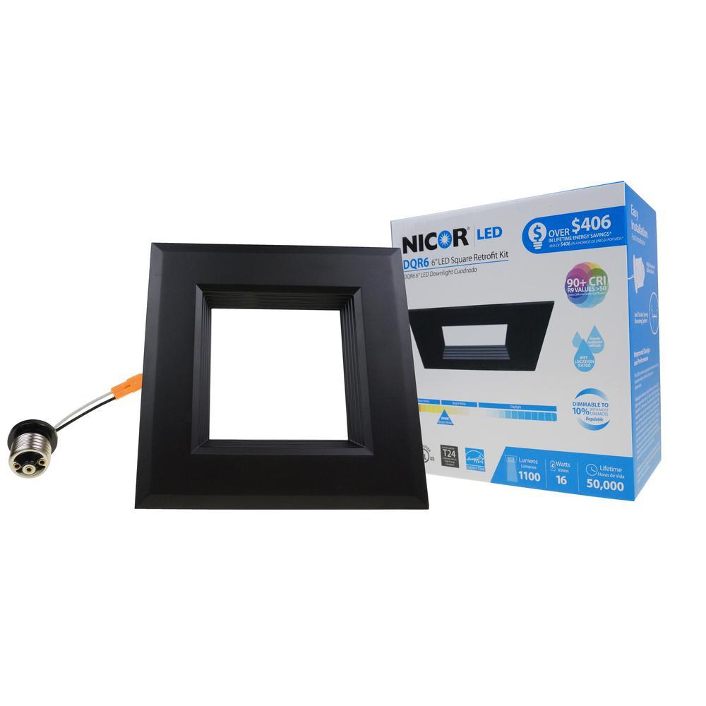 DQR6 Series 6 in. Black Integrated LED Square Recessed Retrofit Downlight Trim Kit, 3000K, 1280 Lumens