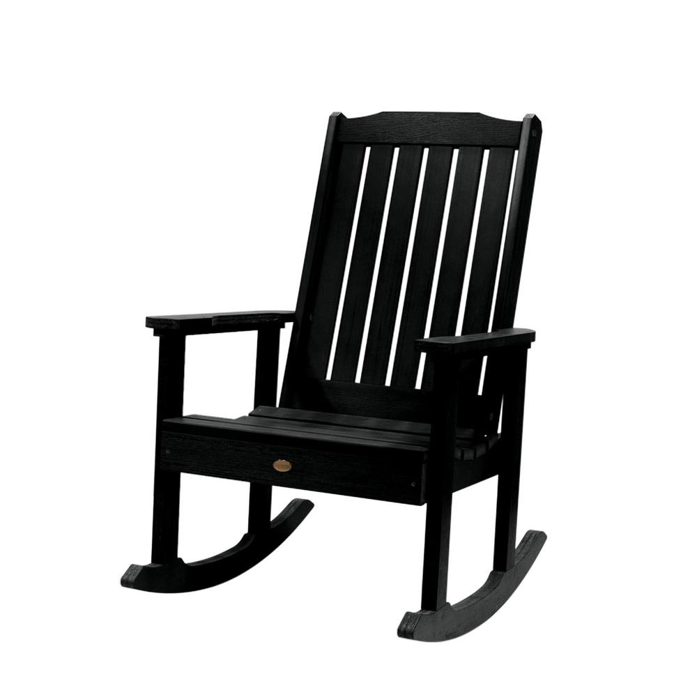 Highwood Lehigh Black Recycled Plastic Outdoor Rocking Chair