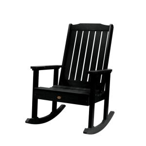Lehigh Black Recycled Plastic Outdoor Rocking Chair
