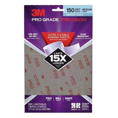 Pro Grade Precision 7 in. x 4-1/2 in. 150 Grit Medium Ultra Flexible Sanding Sheets (4-Pack) (Case of 10)
