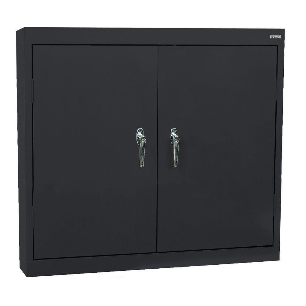 30 in. H x 36 in. W x 12 in. D Steel Wall Storage Cabinet in Black