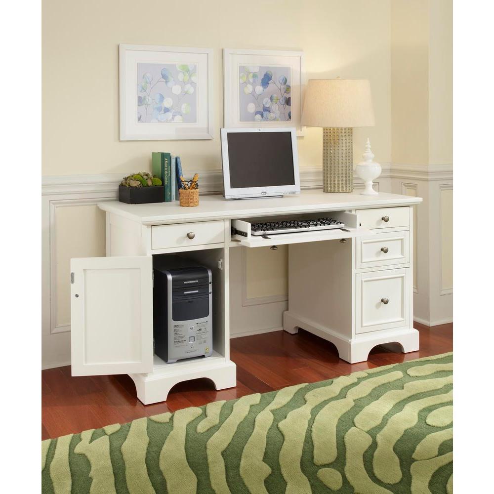 HOMESTYLES Naples White Desk 5530-18 - The Home Depot